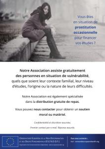 Affiche A3 de sensibilisation au problème de la prostitution étudiante